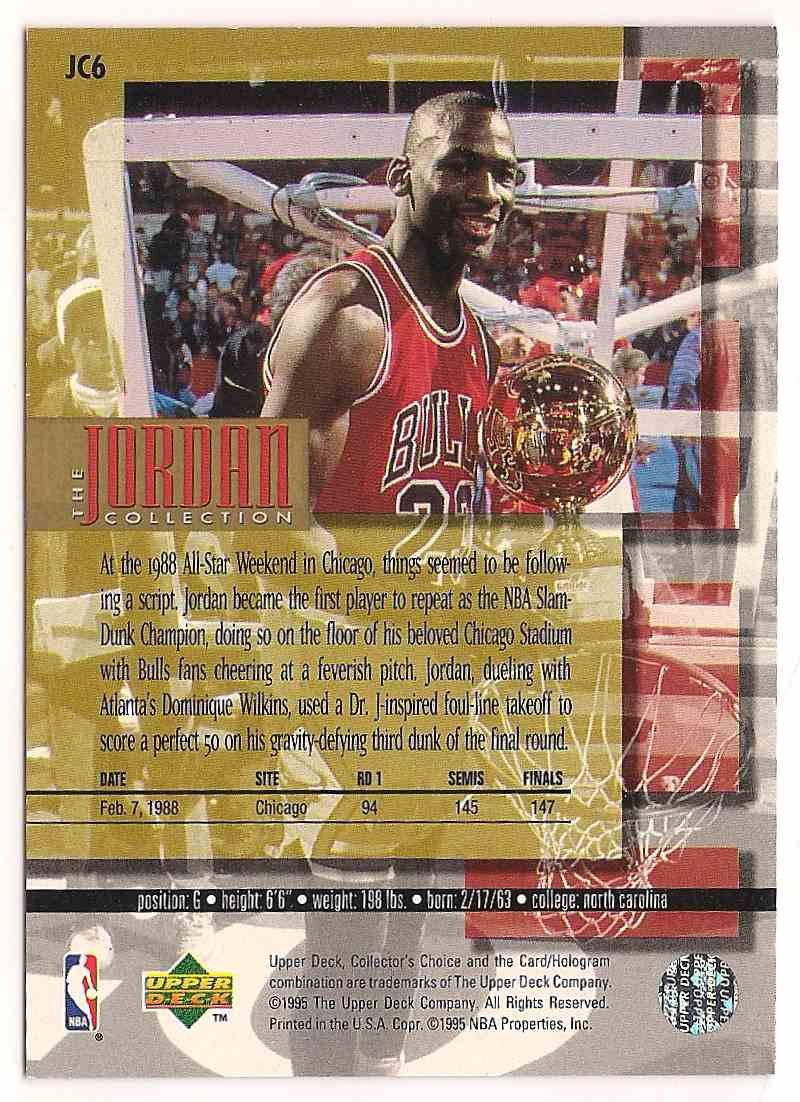 1995-96 Upper Deck Michael Jordan #JC6 card back image