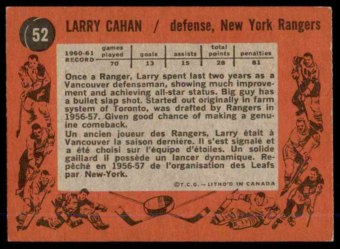1961-62 Topps Larry Cahan #52 card back image