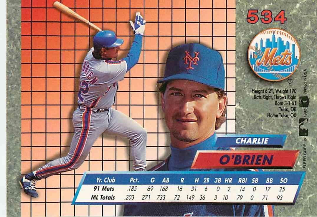 1992 Fleer Charlie O39brien 534 On Kronozio