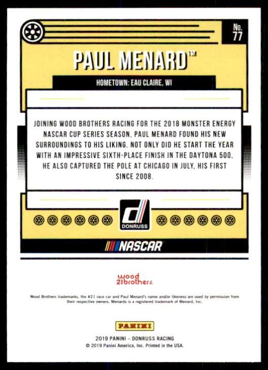 2019 Panini Donruss Racing Silver Paul Menard #77 card back image