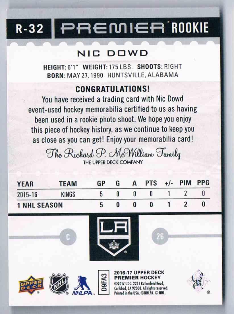 2016-17 Upper Deck Premier Jersey Rookie Nic Dowd #R-32 card back image