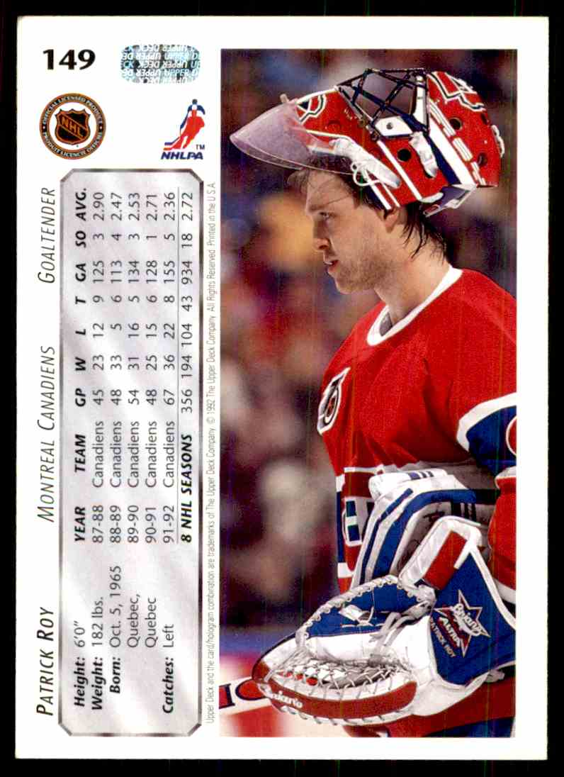 1992-93 Upper Deck Patrick Roy #149 card back image