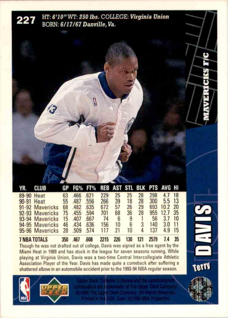 1996-97 Collector's Choice Terry Davis #227 card back image