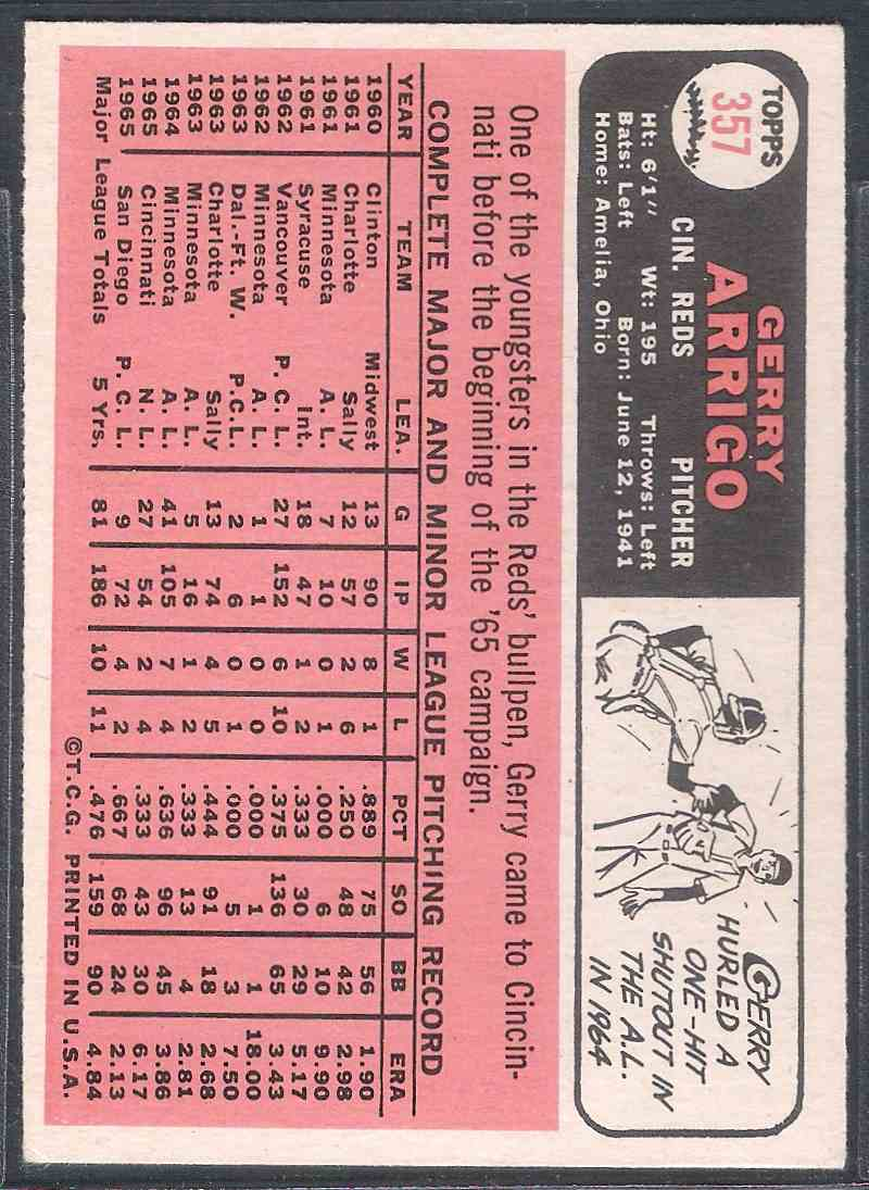1966 Topps Gerry Arrigo #357 card back image