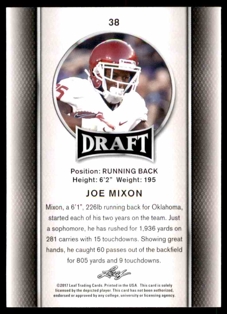 2017 Leaf Draft Joe Mixon #38 card back image