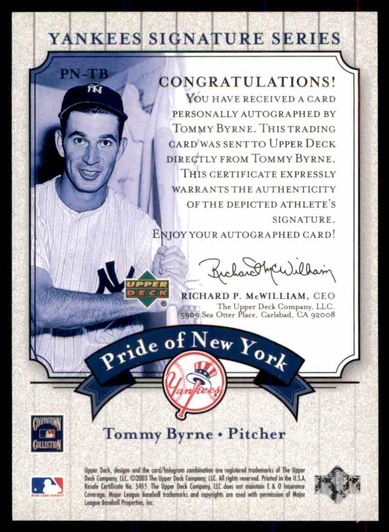 2003 Upper Deck Yankees Siganture Series Tommy Byrne card back image