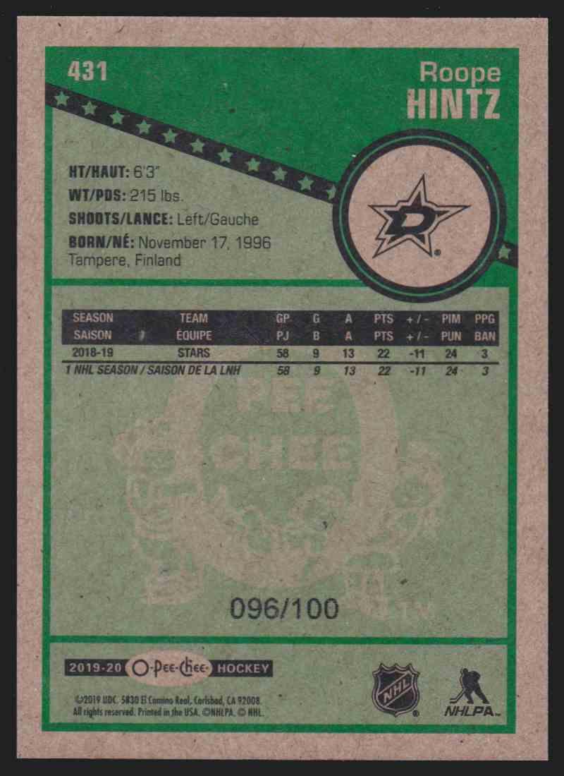2019-20 Upper Deck Hockey O-Pee-Chee Roope Hintz - Black Retro #431 card back image