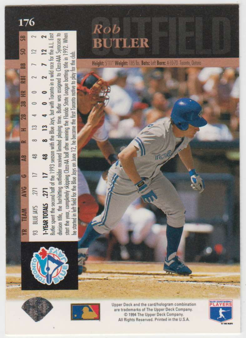1994 Upper Deck Rob Butler #176 card back image