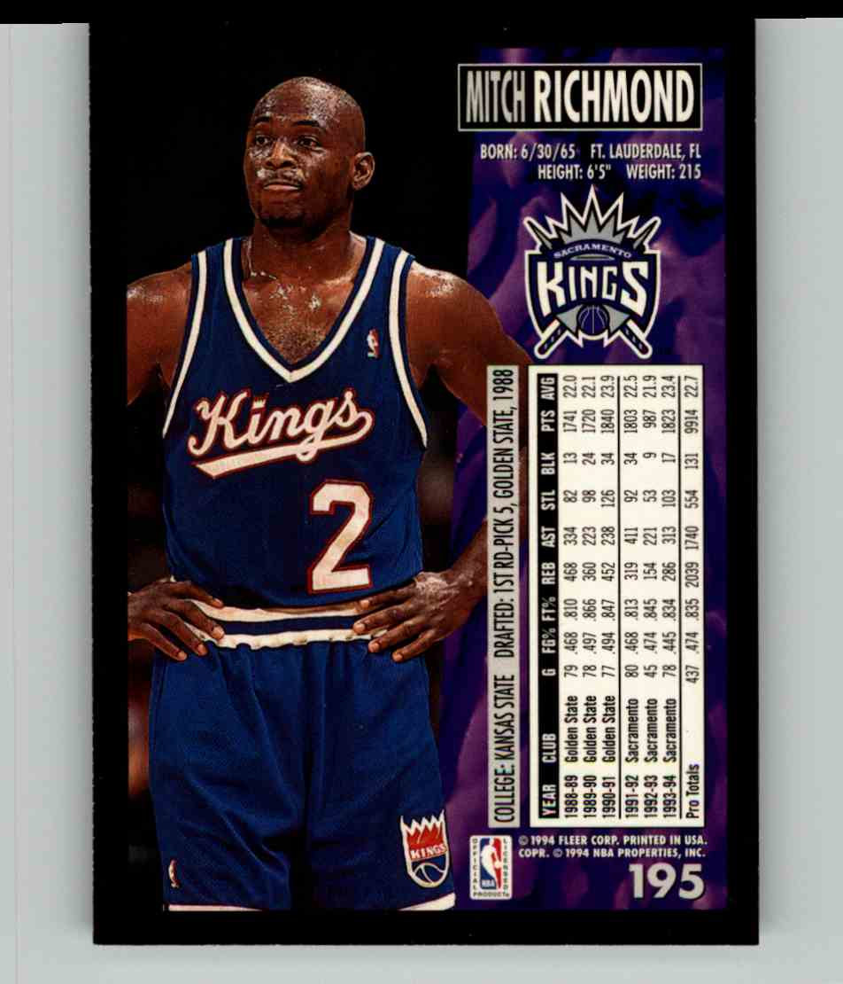 1994-95 Fleer Mitch Richmond #195 card back image