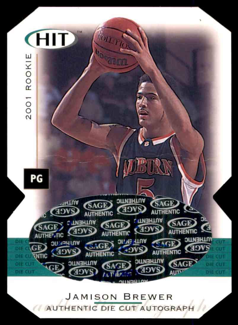 2001-02 Sage Hit Autographs Die Cuts Jamison Brewer #A14 card front image