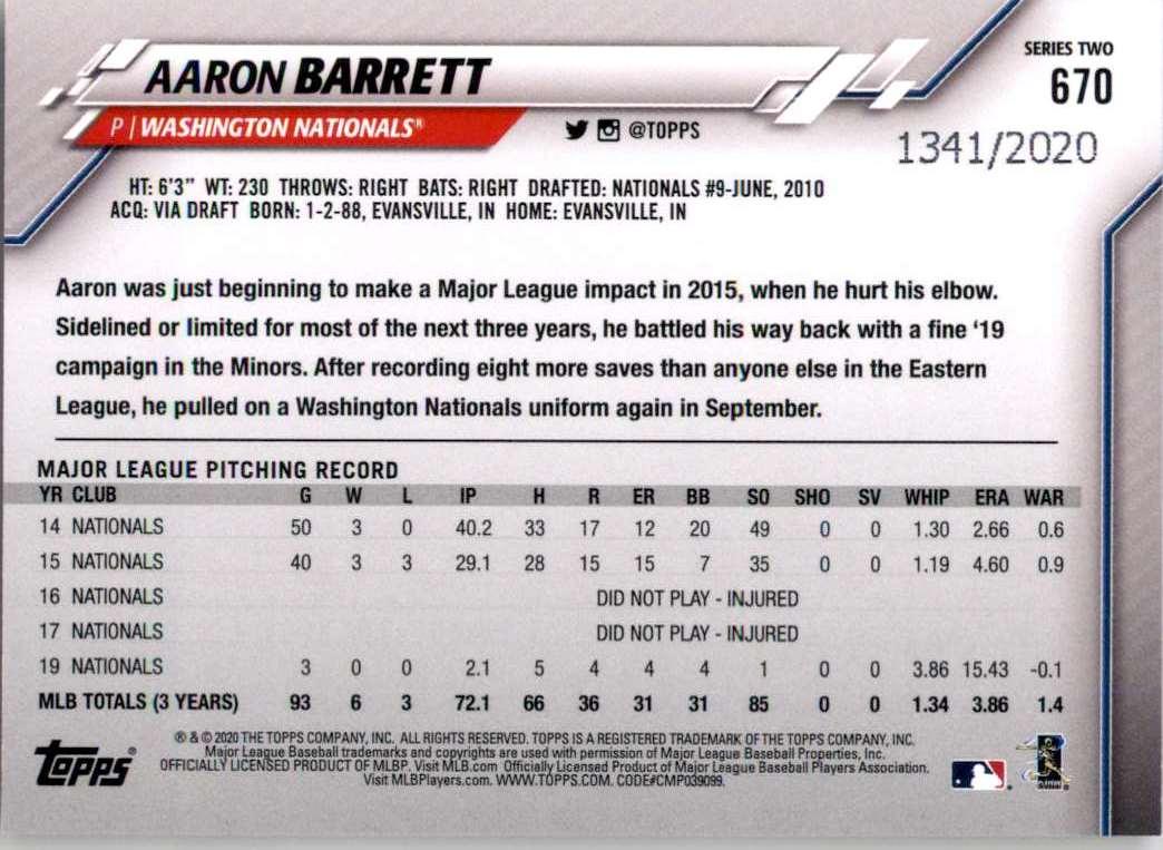 2020 Topps Gold Aaron Barrett #670 card back image