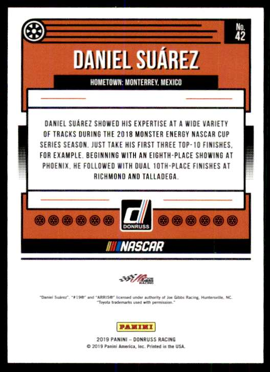 2019 Panini Donruss Racing Silver NASCAR Daniel Suarez #42 card back image