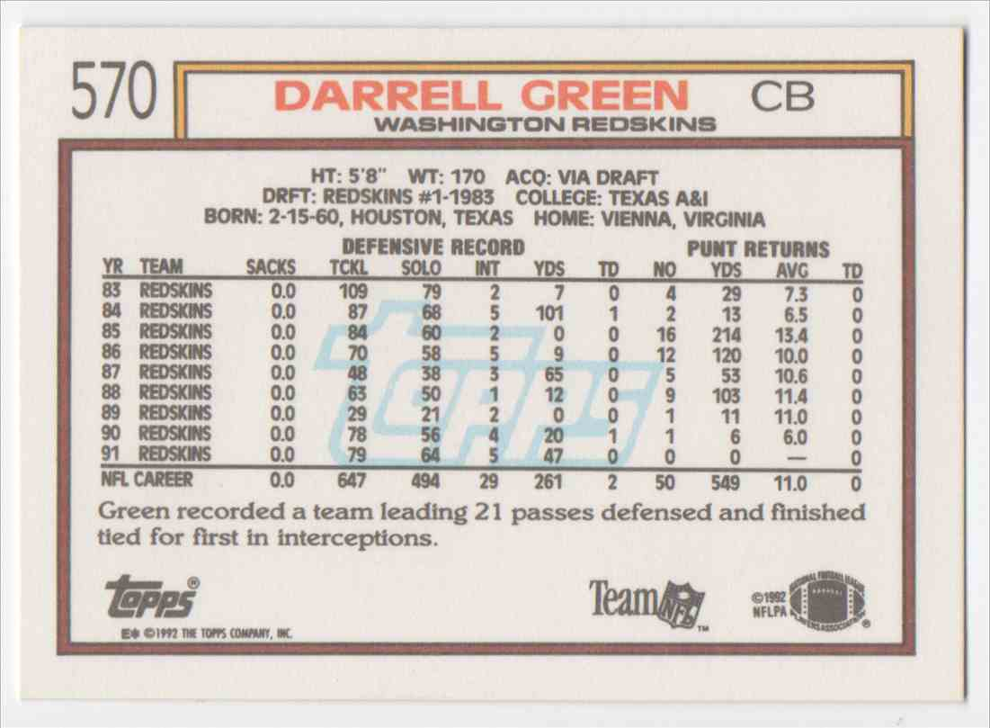 1992 Topps Darrell Green #570 card back image