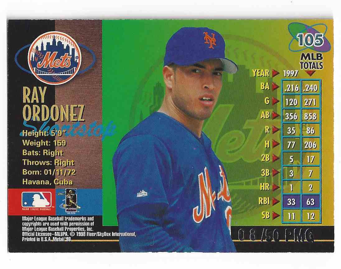 1998 Fleer / Skybox Metal Universe Rey Ordonez #105 card back image