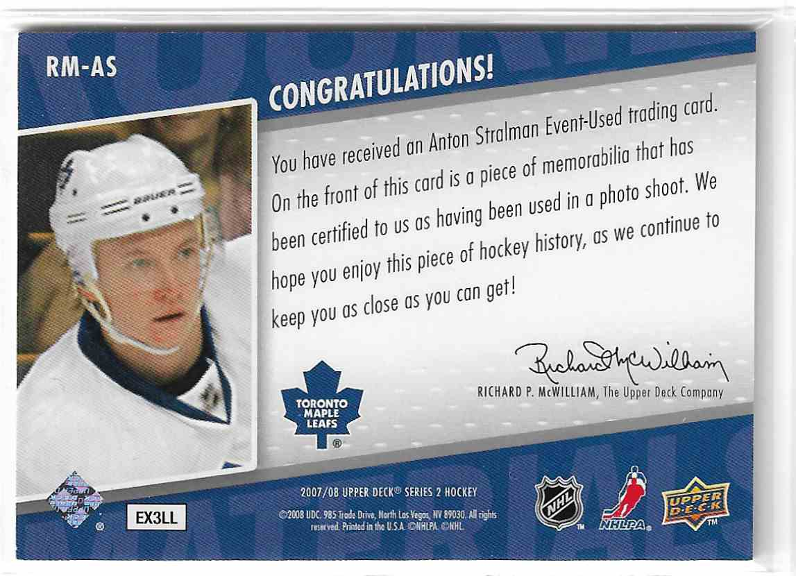 2007-08 Upper Deck Rookie Materials Anton Stralman #RM-AS card back image