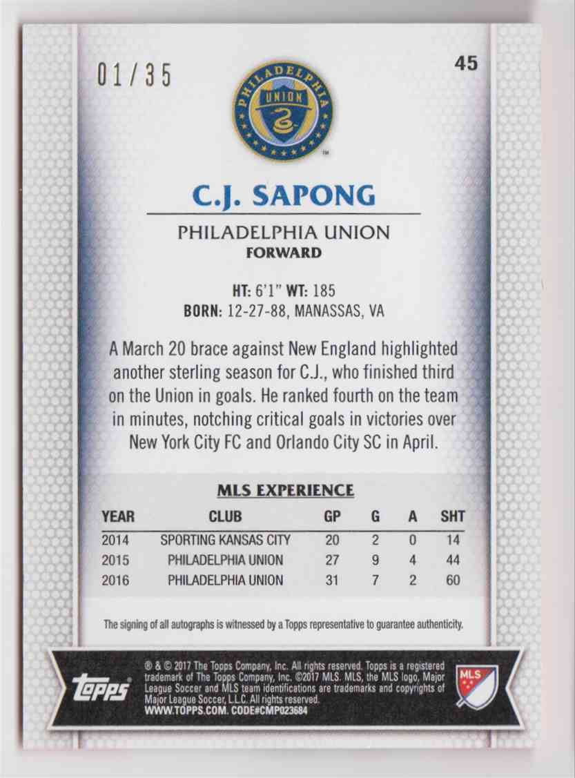 2017 Topps MLS Orange C.J. Sapong #45 card back image