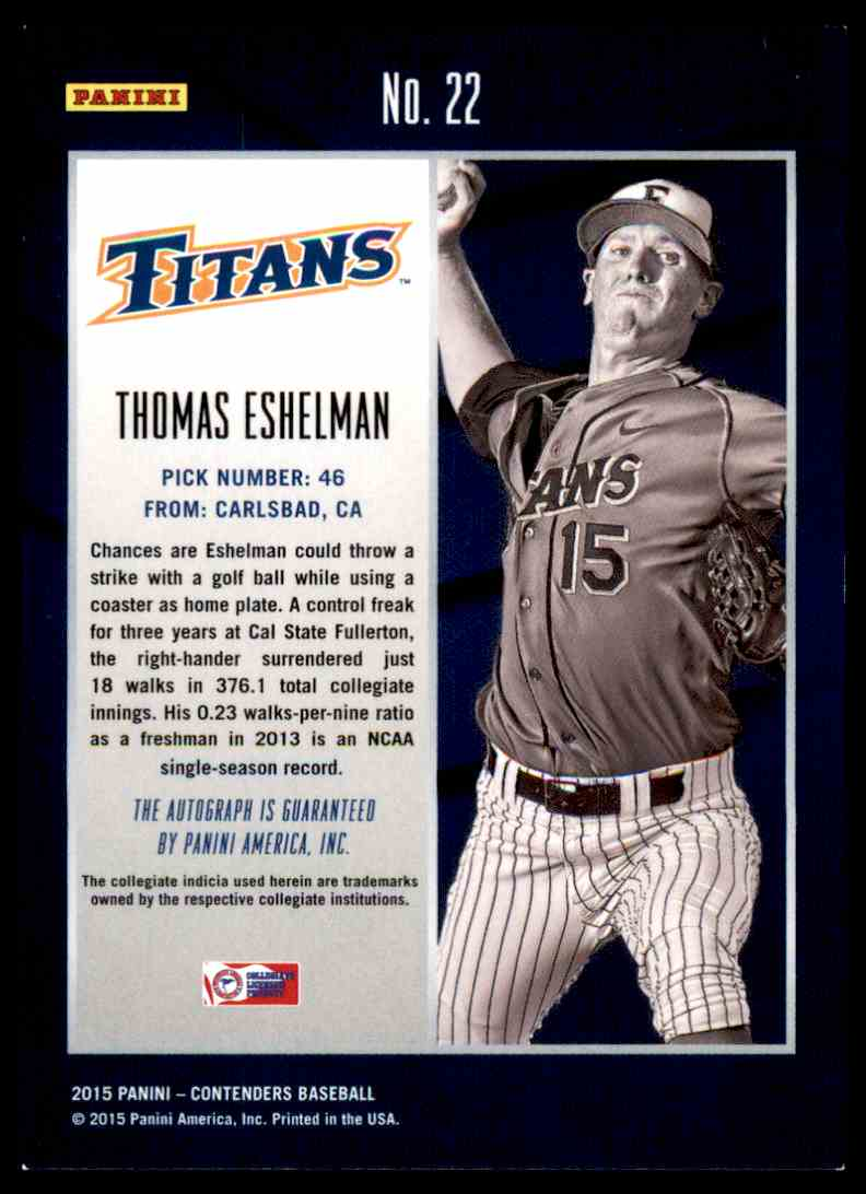 2015 Panini Contenders Thomas Eshelman #22 card back image