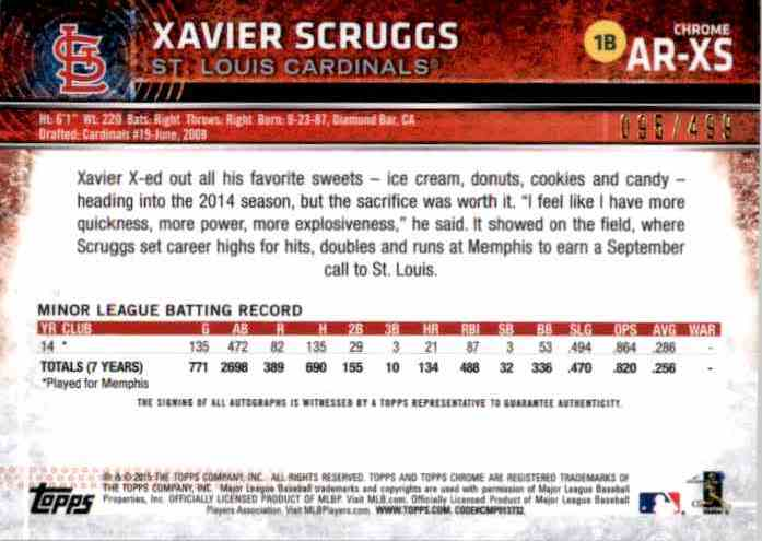 2015 Topps Chrome Rookie Autographs Refractors Xavier Scruggs #ARXS card back image
