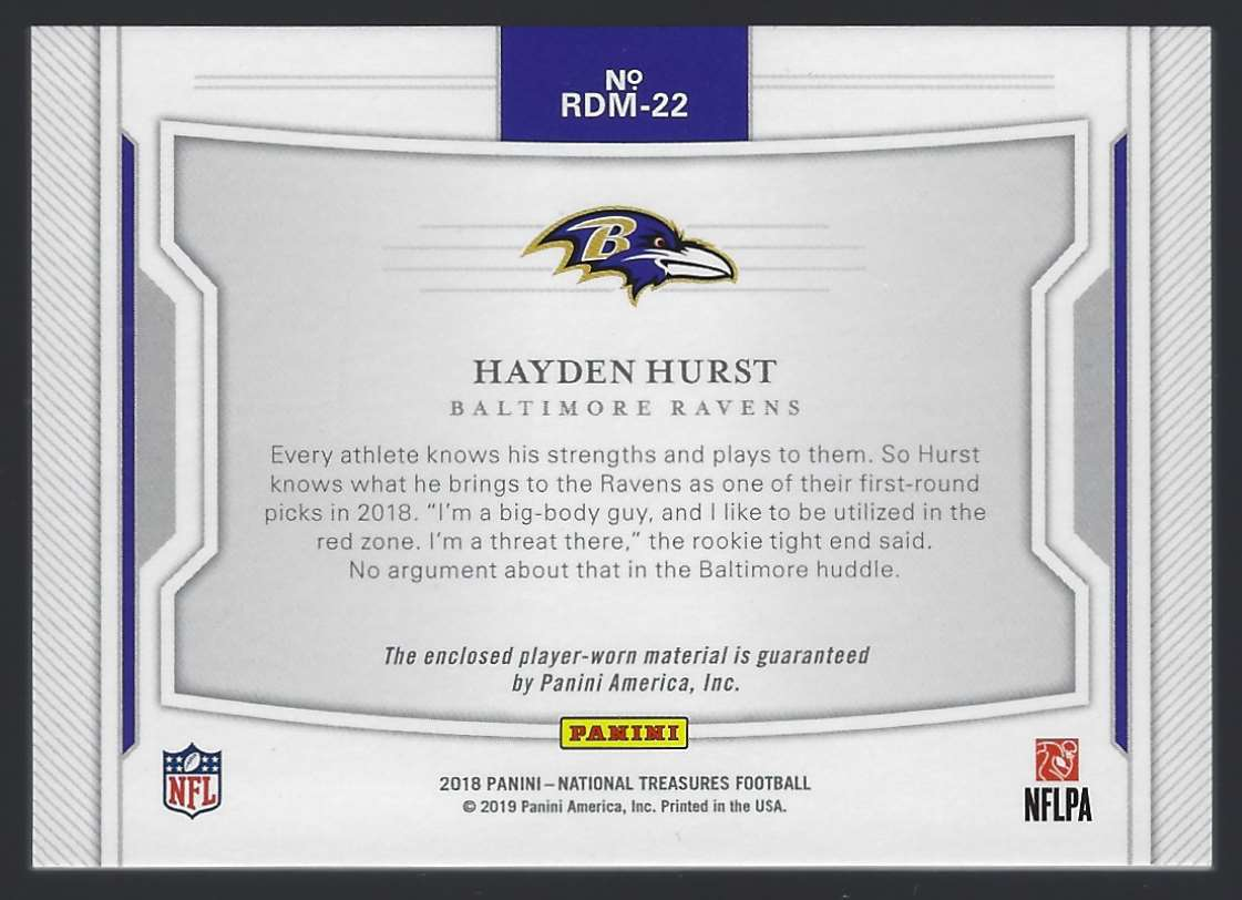 2018 Panini National Treasures Rookie Material Signatures Rps Hayden Hurst #RDM22 card back image