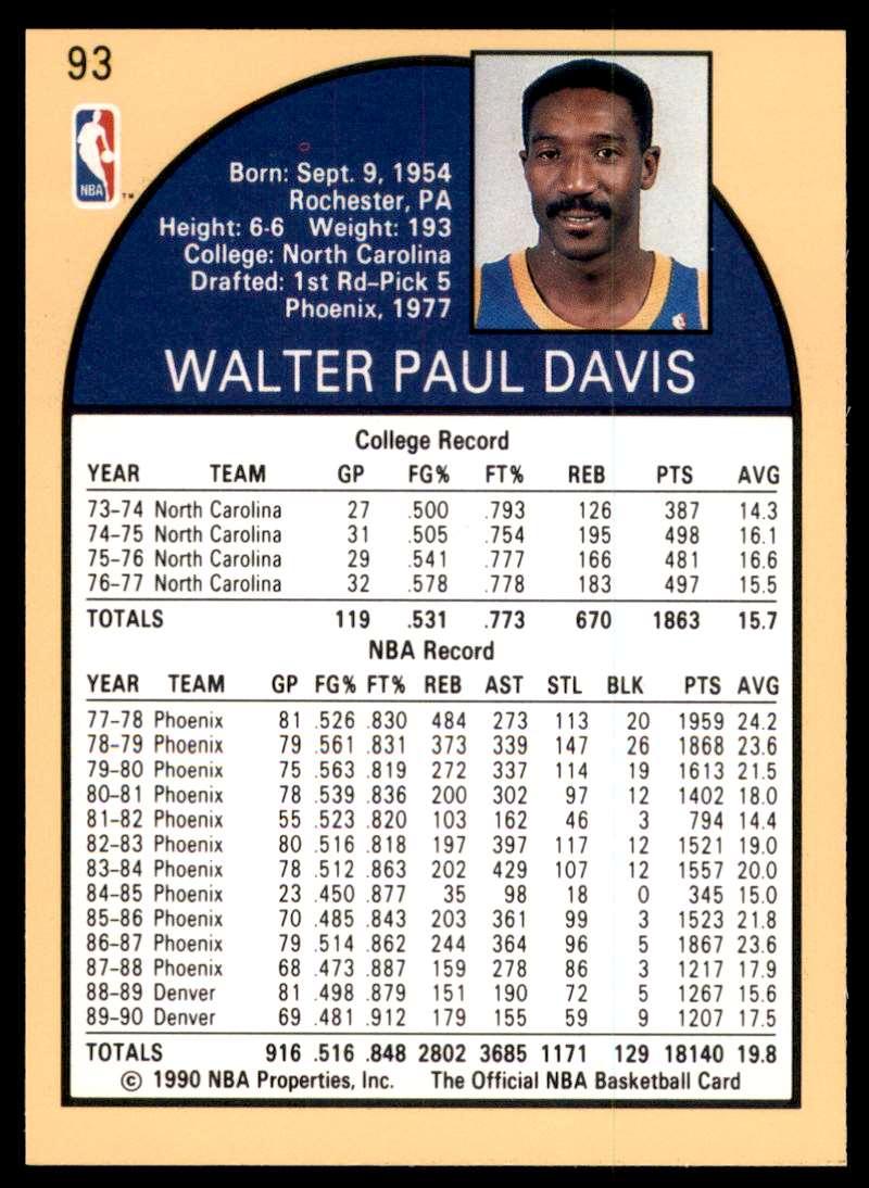 1990-91 Hoops Walter Davis #93 card back image