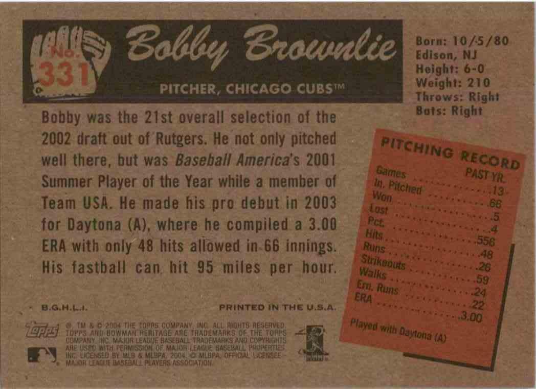 2004 Bowman Heritage Bobby Brownlie #331 card back image