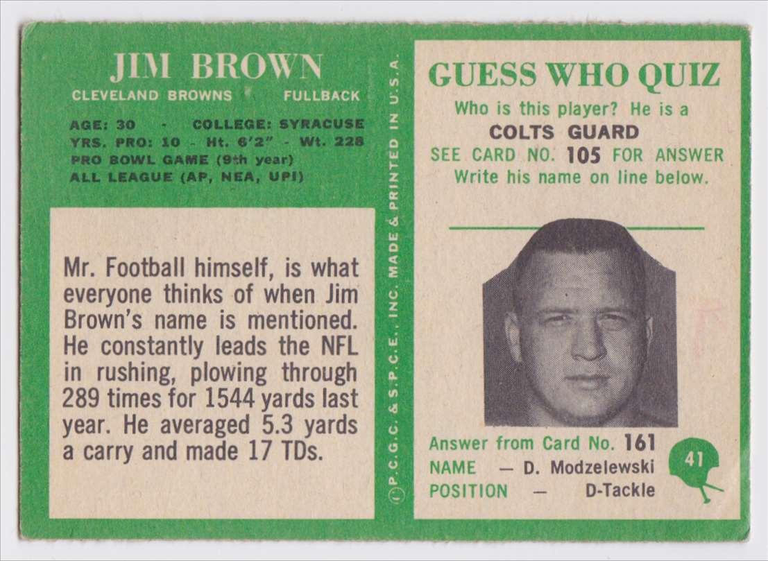 1966 Pcgc Jim Brown #41 card back image