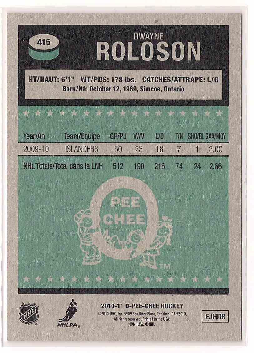 2010-11 O-Pee-Chee Retro Dwayne Roloson #415 card back image