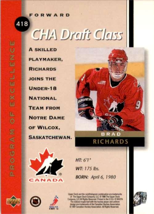 1997-98 Upper Deck Brad Richards RC #418 card back image