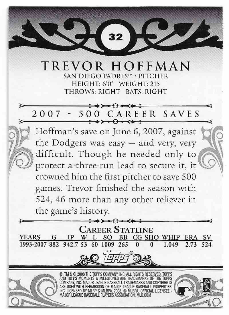 2008 Topps Moments & Milestones Trevor Hoffman #32-354 card back image