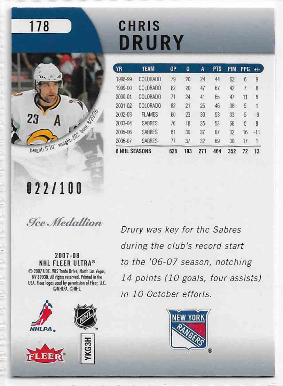 2007-08 Fleer Ultra Ice Medallion Chris Drury #178 card back image