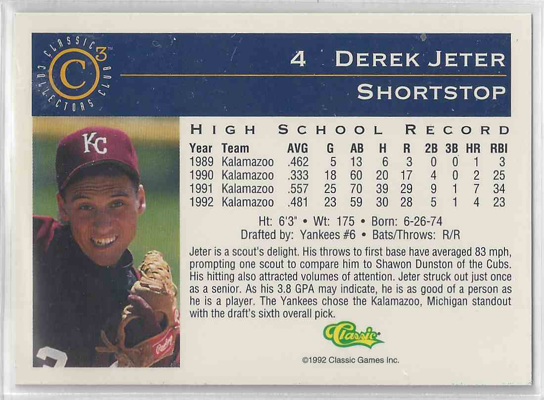 1992 Classic Collectors Club Derek Jeter #CC 3 card back image