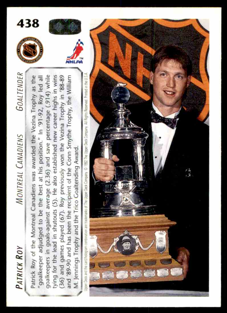 1992-93 Upper Deck Patrick Roy #438 card back image
