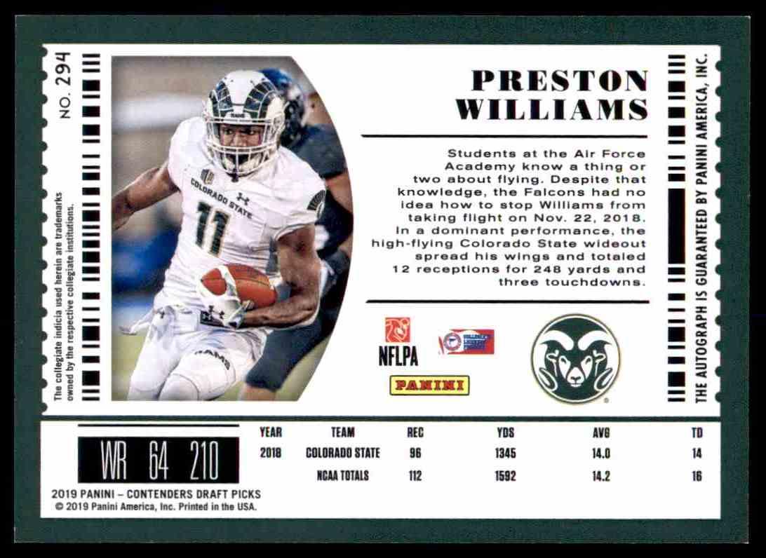 newest 2809b 9b297 2019 Panini Contenders College Ticket Preston Williams #294 ...