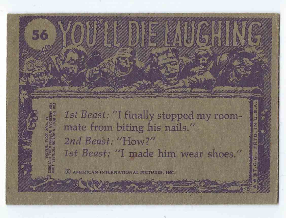 1973 Topps You'll Die Laughing How's The Skin Treatment Going, Darling? #56 card back image