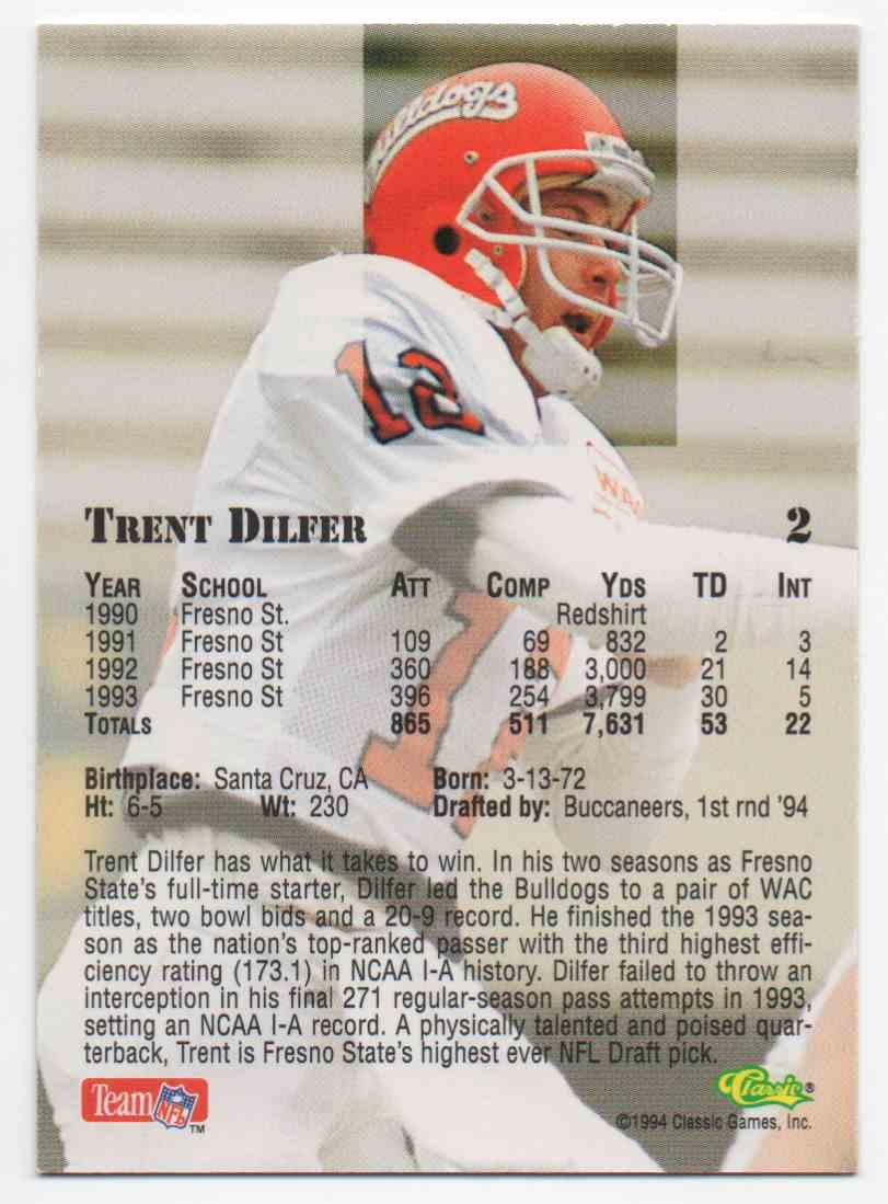 1994 Classic Draft Trent Dilfer #2 card back image