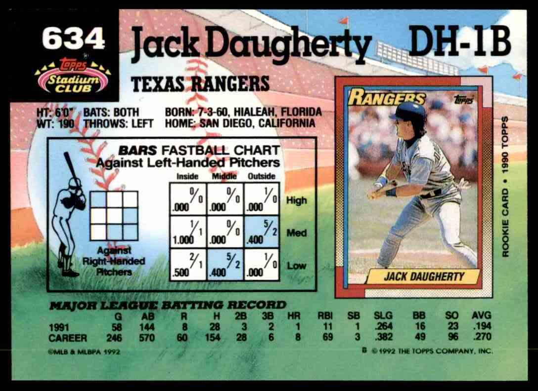 1992 Stadium Club Jack Daugherty #634 card back image