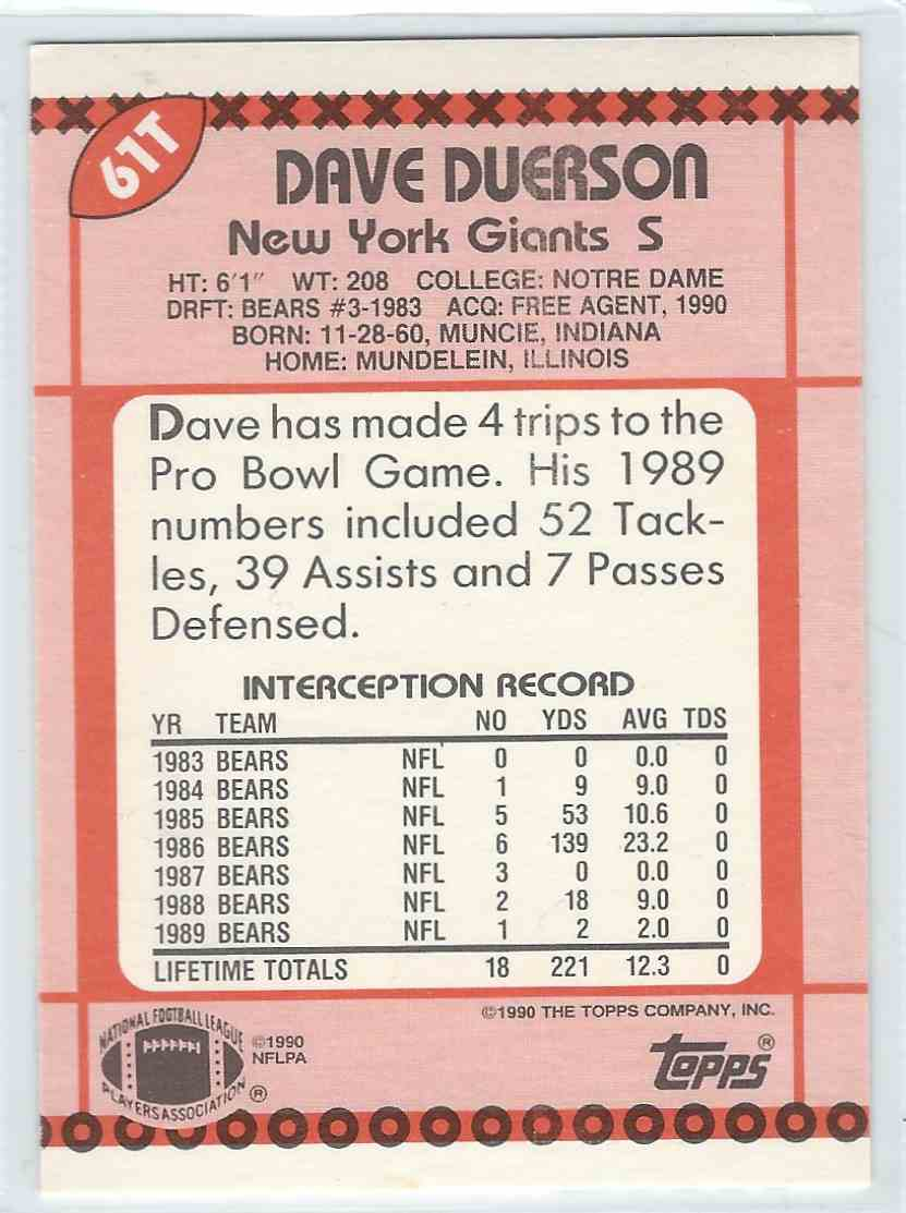 1990 Topps Traded Dave Duerson #61T card back image