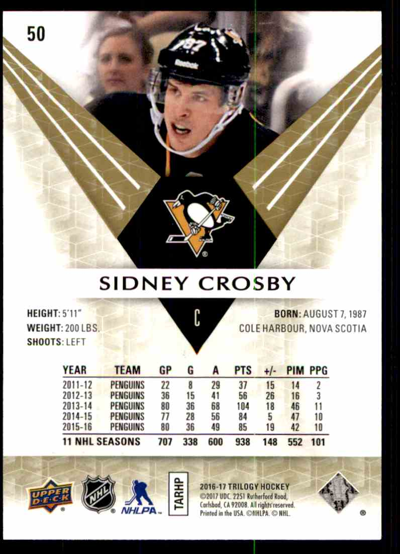 2016-17 Upper Deck Trilogy Sidney Crosby #50 card back image