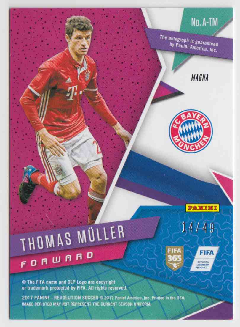 2017 Panini Revolution Magna Thomas Muller #A-TM card back image