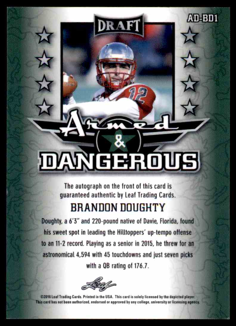 2015 Leaf Metal Draft Brandon Doughty card back image