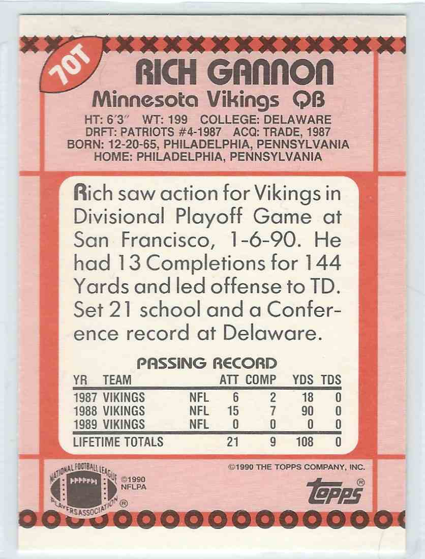 1990 Topps Traded Rich Gannon #70T card back image