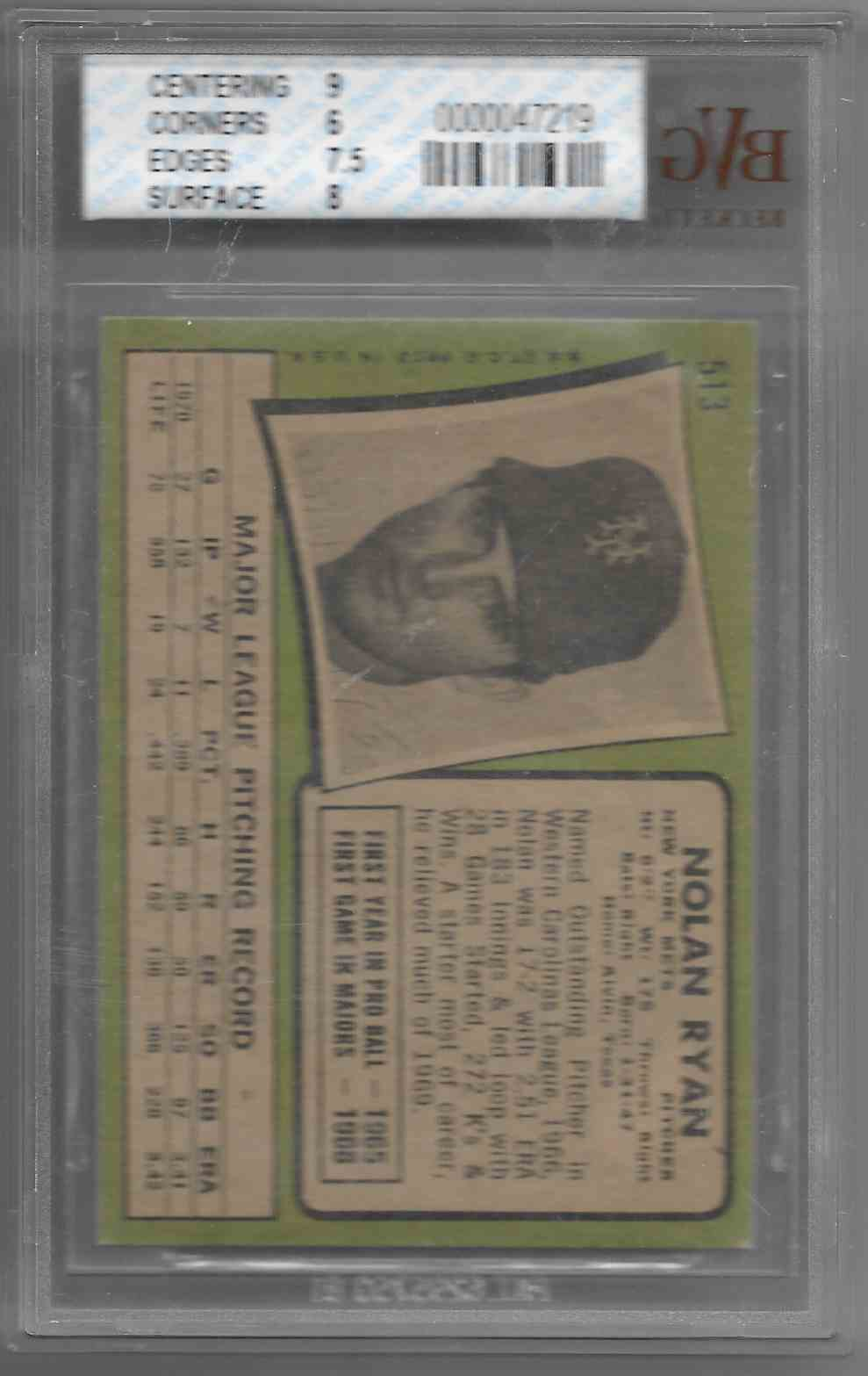 1971 Topps Nolan Ryan #513 card back image