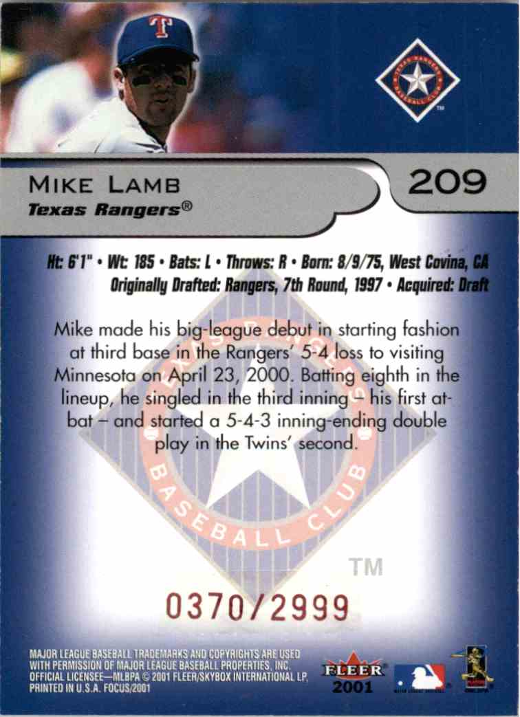 2001 Fleer Focus Mike Lamb #209 card back image