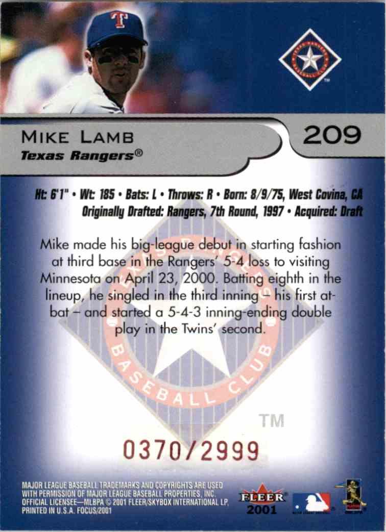 2001 Fleer Focus Mike Lamb #209 card back image