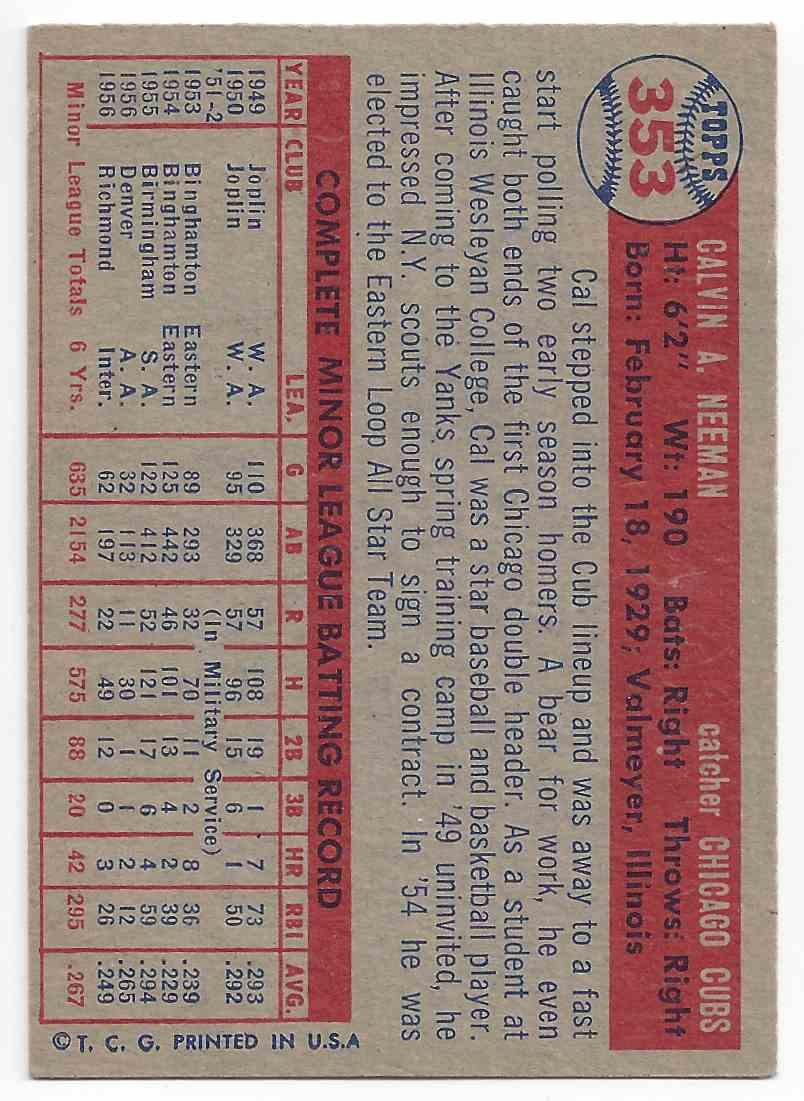 1957 Topps Cal Neeman #353 card back image
