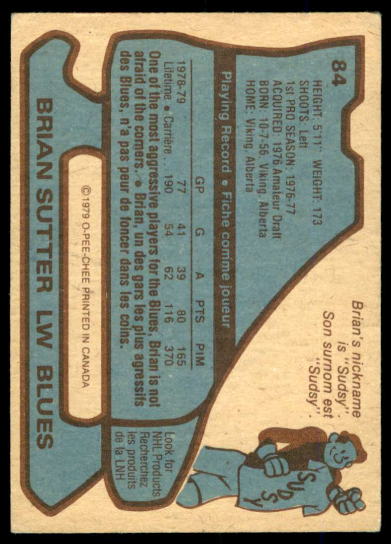 1979-80 O-Pee-Chee Brian Sutter #84 card back image