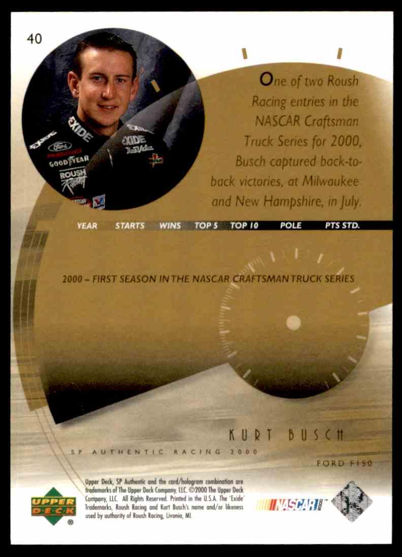 2000 SP Authentic Kurt Busch #40 card back image