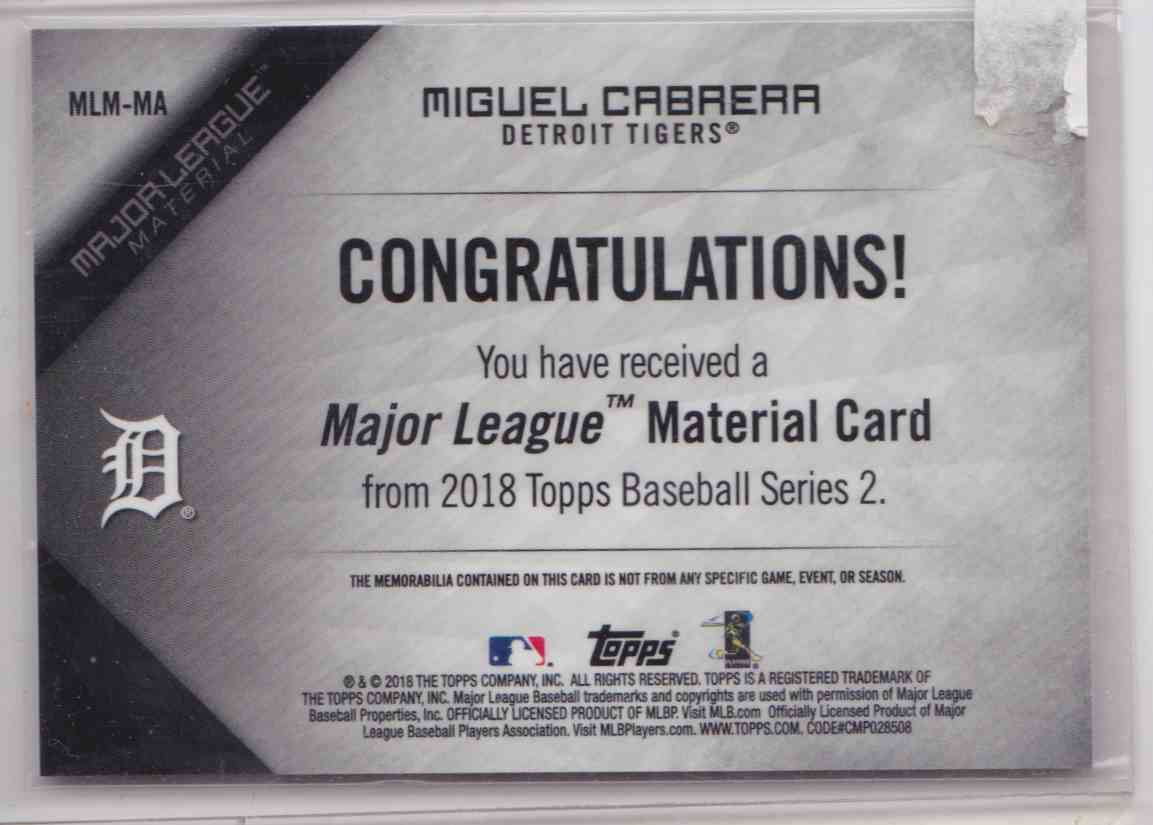 2018 Topps Series 2 Major League Material Miguel Cabrera #MLM-MA card back image