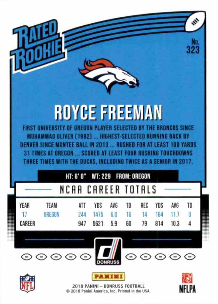 2018 Donruss Rated Rookie Royce Freeman #323 card back image