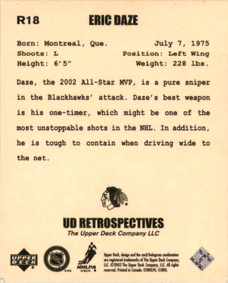2002-03 UD Artistic Impressions Retrospectives Eric Daze #R18 card back image